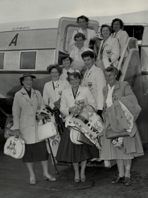 Returning from South Africa, England first tour abroad, in 1956 are: From the top, left to right - Jo Wigman, Jo Higgins, Irene Hogg, Jackie Ogden, Fay Smith, Annette Cairncross, Hazel Chapman, (front) Rena Stratford Manager/Coach, Mary French (nee Bushell) and Rose Harris Umpire. | Daily Express