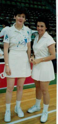 England's International Umpire Sheelagh Redpath with Australian International Umpire Maureen Boyle