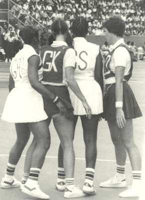 They call it close marking, remembering that in 1979 Netball was still a non contact sport! Denise Hunter (GK) and Maddy Dwan (GD) marking Trinidad shooters.