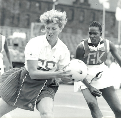 Helen Cadman GS collecting the pass against Trinidad & Tobago GK