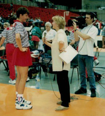 Kendra Slawinski being interviewed by Hazel Irving, BBC. | Niels Carruthers