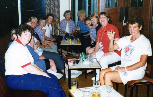 Team Hostesses having a break at the 1995 World Champs in Birmingham. Margaret Yeomans (Malta) Unknown Karen Collins (Scotland) Margaret Seed (Barbados) Joan Smith (Malaysia) Joyce Smailes (St Vincent) Jean Judeson (Head of Hostesses) Tina Head (Papua New Guinea) Unknown) Jean Cooling (Canada) Janette Steer (Cook Islands) Ann Stephenson (Namibia)