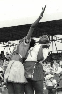 Maggie Farrell defending against Barbados