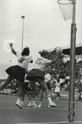 Helen Cadman receiving against New Zealand