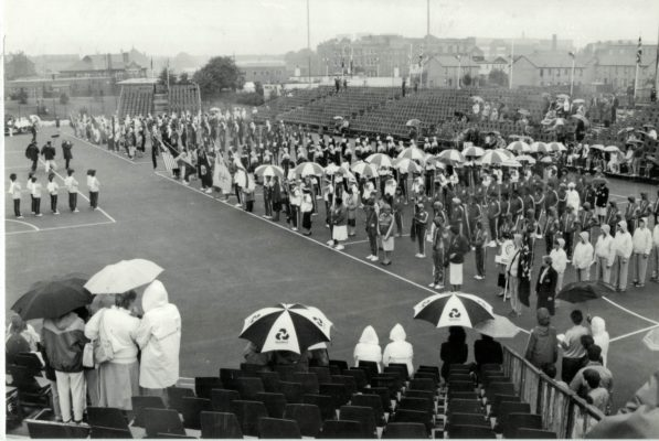 And down came the rain, England well prepared with their umbrellas.