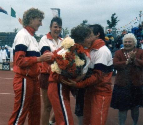 1987 - Jillean Hipsey celebrates her 100th Cap