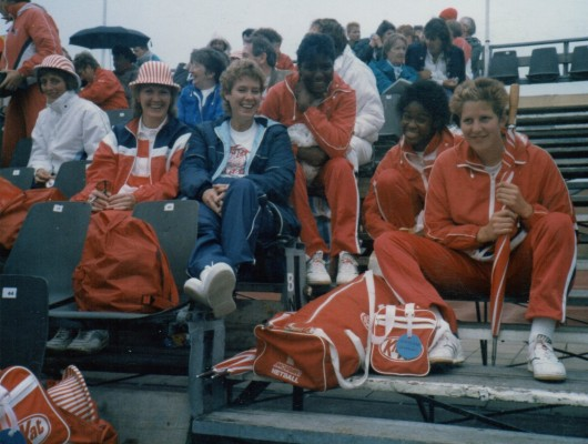Maggie Farrell, Jesslyn Parkes, Karen Fenlon Just in front of Maggie is Sue Smith & next to her in the hat is Jean Denny, behind Jean are Sue Keal's parents.
