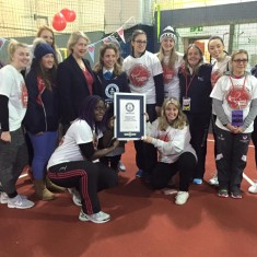The staff and a few of the volunteers at the end of the 90 years anniversary tournament with the certificate