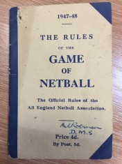 Front cover of 1947 - 1948 Rules published by the All England Netball Association