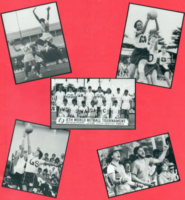 Front cover of the September 1983 Netball magazine displayed a few photographs taken in Singapore at the 6th World Netball Championship.  Bottom right hand photo shows the Cheer Leaders for England, Peter Hipsey and Paul Squires.