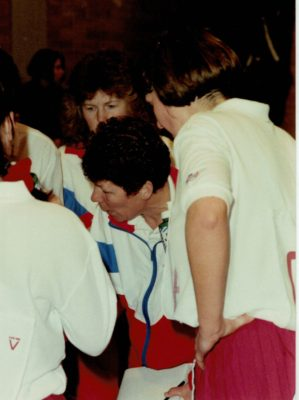 Liz Broomhead, Senior Coach at quarter time.