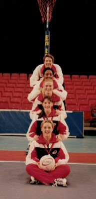 From back to front: Chantelle Mortimer, Amanda Newton, Lisa Stanley, Helen Lonsdale, Tracey Neville