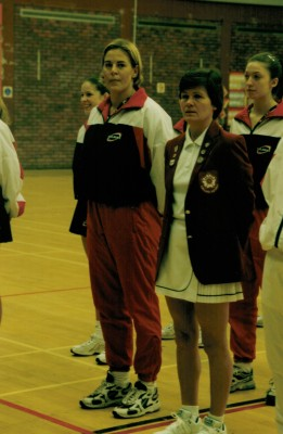 Jo Kelley England umpire and Jo Zinzan England U21 Captain with Olivia Murphy