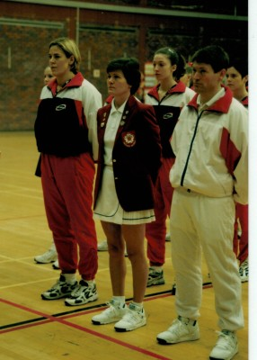Jo Zinzan (Captain), with Olivia Murphy and Jo Kelley and Dickon Adams (Umpires)