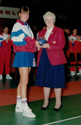Kendra Slawinski being presented with her 100th cap by Pat Taylor, President All England Netball Association at Wembley 1993