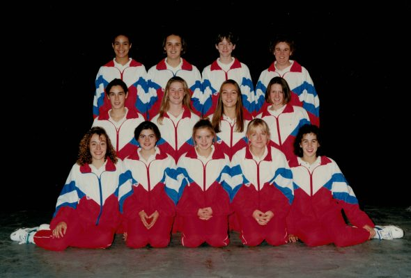 England Under 18 Squad 1993/1994. Back row left to right:  Vanessa McMahon, Tracy Neville, Olivia Murphy, Mary Beardwood (Coach). Middle row:  Joanne Brooker, Lisa Stanley, Vikki Doyle, Chantel Mortimer.  Front row:  Nicole Lamb, Emma Hoskins, Gabby Powell, Suzanne Swan, Lisa Collins