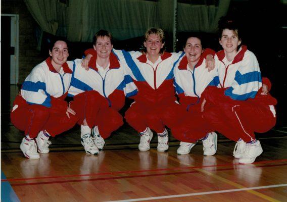 New Caps Senior Squad 1993/1994. Left to right:  Sam Bird, Justine Saunders, Rachel Pockley, Leigh McManus, Lorriane Law