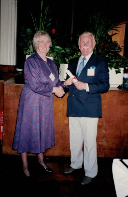 Harry Moss receiving the Rose Award at the England Netball AGM from Jean Bourne, England President, 1994