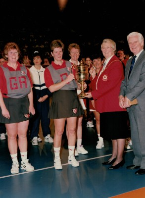 Colette Thomson, Linden Netball Club received the Winners Trophy from Jean Bourne, England Netball President