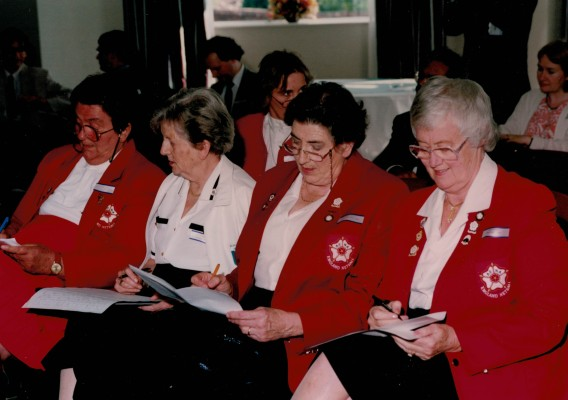 Recording the draw - Mary French, Nora Ashworth, June Jack and Jean Bourne