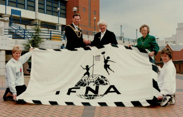 The hand over of the IFNA flag - Jenny Clark, Mayor of Birmingham, Pat Taylor, Joyce Haines, Liz Nichol