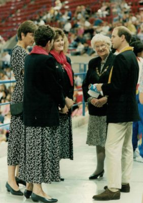 HRH Prince Edward meeting some of the England Officials - Liz Broomhead, Coach, Kendra Slawinski, Captain, ????,??, Pat Taylor, President.
