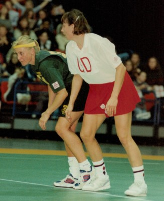 England Captain Kendra Slawinski keeping a close watch on South African Goal Attack
