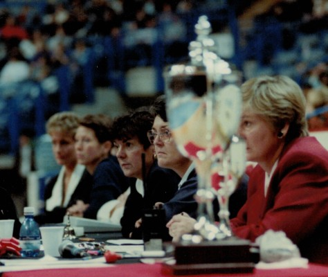 Scorers & Timekeepers table - right to left - Carol Fletcher, Brenda Hayter, Maureen Lee, ???, ???