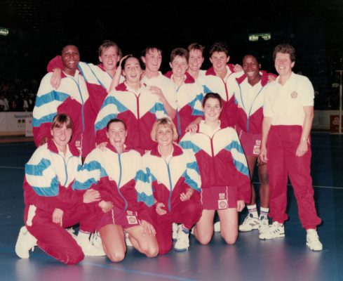 The England Squad with coach Liz Broomhead