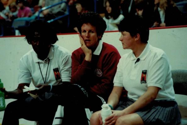 The trio of umpires.  Yvette Smith (Jamaica), Jan Teesdale (New Zealand), Noreen McCredie (Northern Ireland)