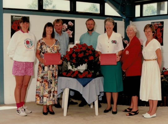 Presentation Group - Kendra Slawinski, runner up Fiona Harrison, two Harness Roses directors, winner Helen Watt, England President Jean Bourne, England CEO Liz Nicholl