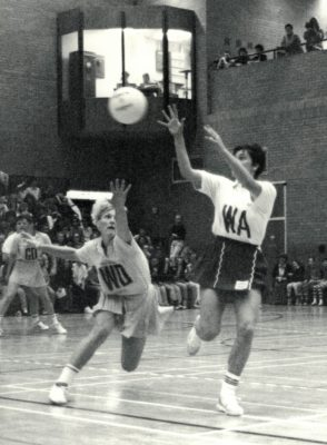 England WA Lucia Sdao receiving the ball with Australian WD and Captain Michelle Fiekle   Brian Worrell