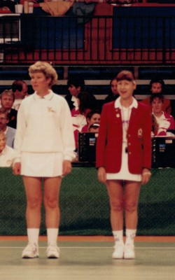 Colleen Bond NZ umpire (left) and Cheryl Danson England umpire (right)