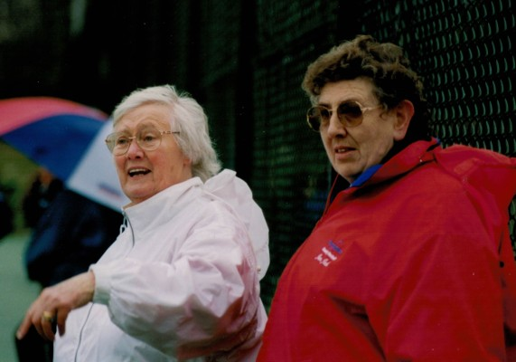 Jean Bourne and June Jack suitably attired for the English weather
