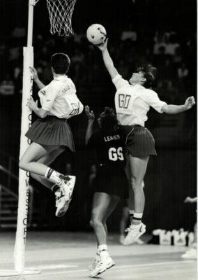 England GD and Captain, Kendra Slawinski intercepting with England GK Sally Young | Eileen Langsley