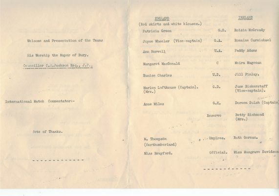 1966 England v Northern Ireland, 19th February, Bury
