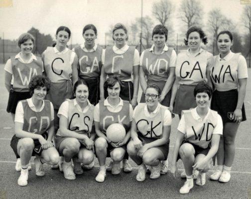 Back Row, l-r: Rita Rees (Dcd), Pat Cooper, Pat Watson, Sally Dewhurst, Liz Kelly (Dcd), Judi Day, Eunice Charles-Smith, Front Row, l-r: Cathy Hickey, Judy Heath, Anne Miles (Captain), Carol Percy, Linda Allison. Brilliant Squad!
