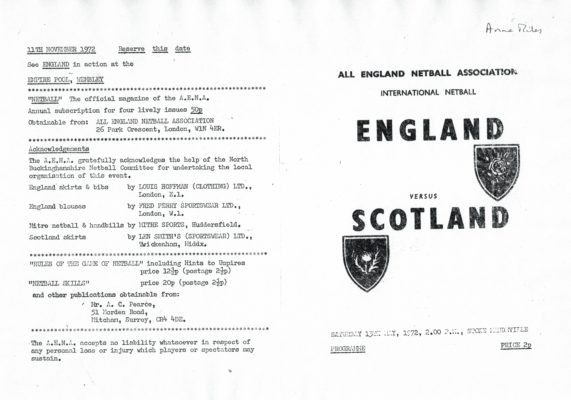 1972 England v Scotland, Stoke Mandeville