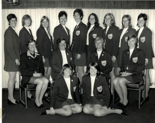 Back row left to right:  Linda Allison, Sue Campbell, Pat Cane (Meadows), Judi Heath, Cathy Hickey, Helen Crowest, Lesley Paper (Darby), Pat Watson, Pat Dudgeon (Cooper) Middle row: Sheila Foulkes (South Africa Association), Mary French (Coach/Manager/Umpire), Joyce Wheeler, Anne Miles (Captain), In front:  Rita Rees, Maria Stewart