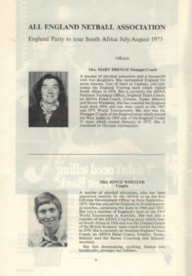 1973 England Tour of South Africa Programme