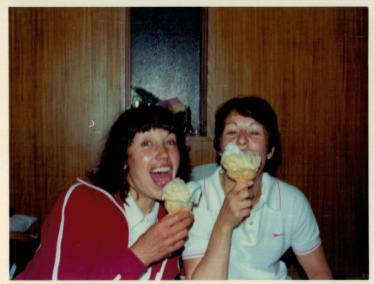 Judith Heath and Linda Allison enjoying ice cream