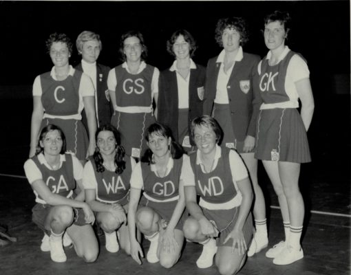 Back Row left to right: Carol Bretherton, Joyce Wheeler (coach), Gwen Foster, Gill Davis, ???, Madeline Dwan. Front Row left to right: Pat Cane (Captain), Helen Squires, Denise Hunter, ????   Maureen Ball