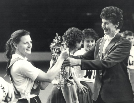 Janice Wheatley, winners OPA Captain receiving the Robinsons Barley Water Trophy  from Annette Cairncross, President. | Eileen Langsley