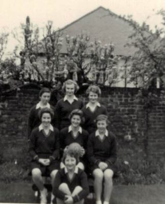 Queen Elizabeth's Girls' Grammar School, Barnet, Herts. Back row L to R: Andrea Palmer, Anne Miles, Hilary Barker, Middle row: Val Watling, Viv Lines, Diana Murdie; Pam Mence in the front.