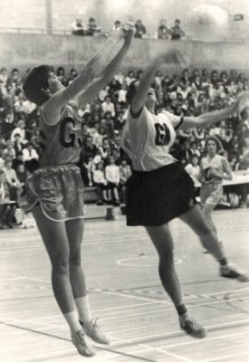 Gill Bickerstaffe (East Region) in experimental playing dress against New Zealand during a tour by New Zealand in the early 1980s.