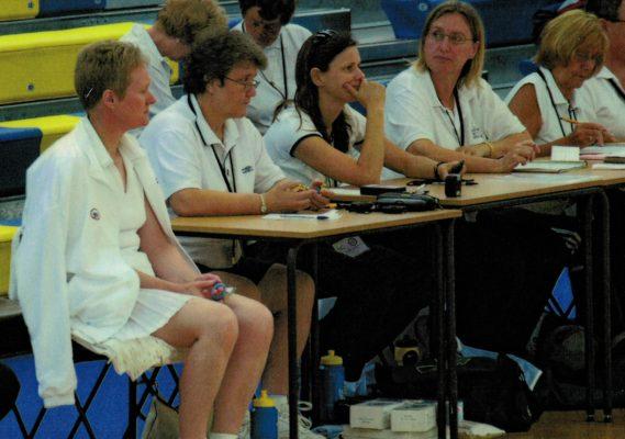 Reserve umpire Margaret Deighan, Jennie Underwood, Kylie Woodhead, Julie Dyer and Barbara Warburton