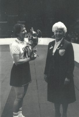 Sue Churchman, Aquilla NC receiving the Robinson's Trophy from Mary Thomas