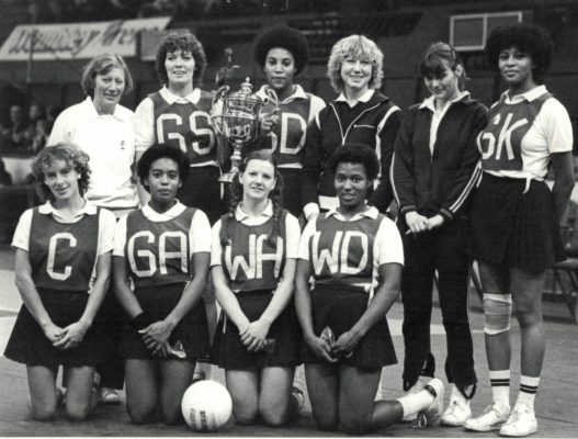 O.P.A. winners of the Robinson's Barley Water Trophy Back row left to right Lesley Jones (coach), Pat Meadows, Sonia Rodney, Brenda Pollard, Brenda Cane, and Loretta Bourne Front row left to right Sue Collins, Maureen Stewart, Janice Wheatley, and Desiree Mahoney | J Hasenkopf