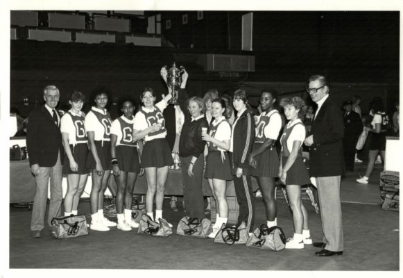 Victorious O.P.A. with the Robinson's Barley Water Trophy Left to right - Ken Woolcott (Robinsons),  Brenda Cane, Loretta Bourne, Maureen Stewart, Pat Meadows Capt, Lesley Jones (Coach) Janice Wheatley, Anne Ginbey, Sonia Rodney and Sue Collins. | Juergen Hasenkopf