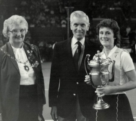 Julia King, Captain Hertford Hornets with the winners Robinson's Barley Water Trophy, with Pat Taylor and Ken Woolcott of Robinson's